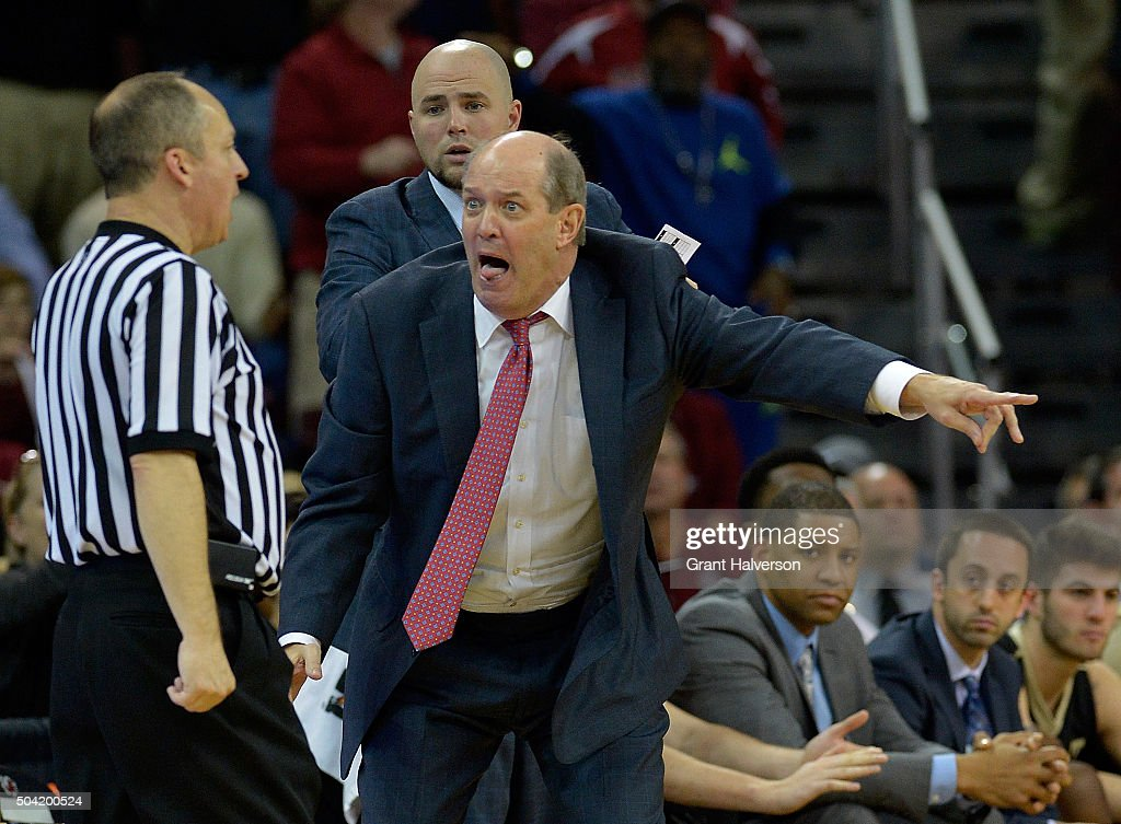 Head coach <a gi-track='captionPersonalityLinkClicked' href=/galleries/search?phrase=Kevin+Stallings&family=editorial&specificpeople=712268 ng-click='$event.stopPropagation()'>Kevin Stallings</a> of the Vanderbilt Commodores reacts as a foul is called against his team late in their game against the South Carolina Gamecocks at Colonial Life Arena on January 9, 2016 in Columbia, South Carolina. South Carolina won 69-65 to remain undefeated on the season.