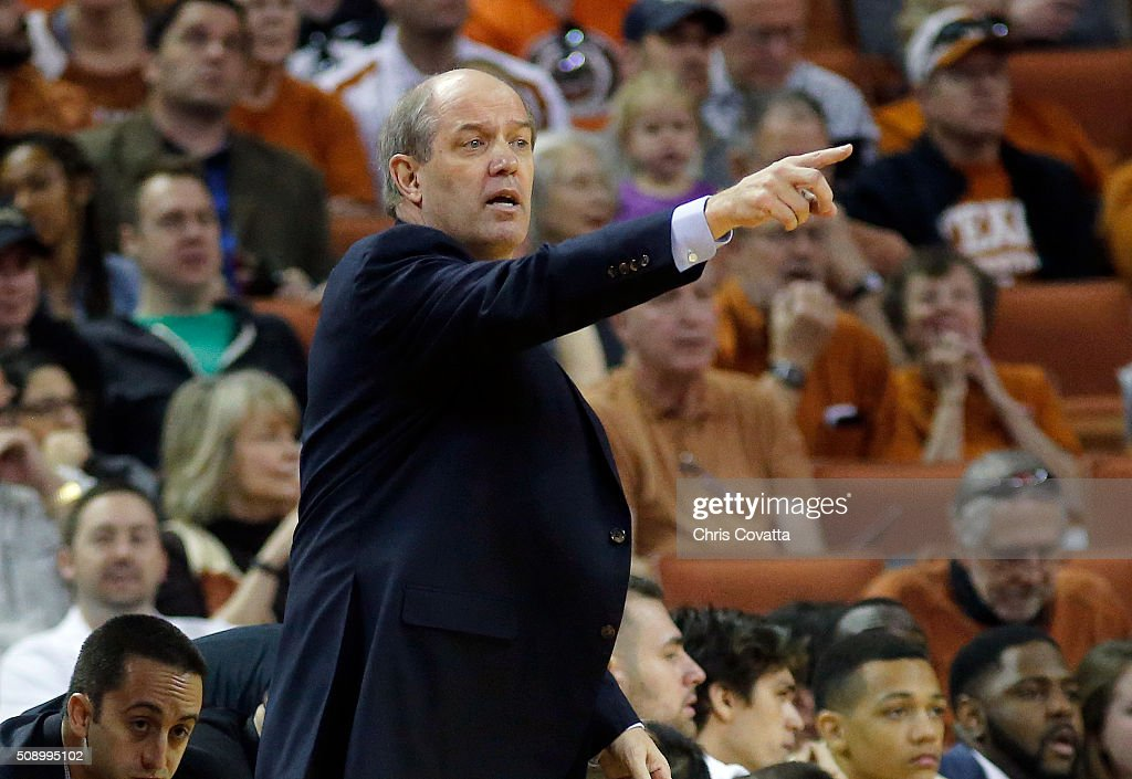 Head coach <a gi-track='captionPersonalityLinkClicked' href=/galleries/search?phrase=Kevin+Stallings&family=editorial&specificpeople=712268 ng-click='$event.stopPropagation()'>Kevin Stallings</a> of the Vanderbilt Commodores reacts as his team plays the Texas Longhorns at the Frank Erwin Center on January 30, 2016 in Austin, Texas.