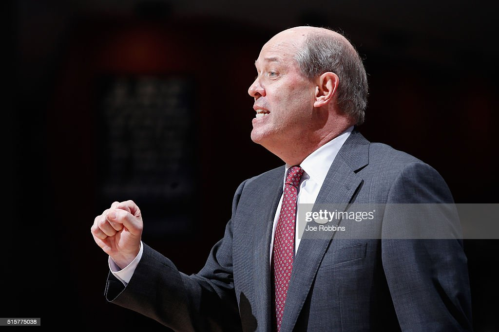 Head coach <a gi-track='captionPersonalityLinkClicked' href=/galleries/search?phrase=Kevin+Stallings&family=editorial&specificpeople=712268 ng-click='$event.stopPropagation()'>Kevin Stallings</a> of the Vanderbilt Commodores reacts in the first half against the Wichita State Shockers during the first round of the 2016 NCAA Men's Basketball Tournament at UD Arena on March 15, 2016 in Dayton, Ohio.