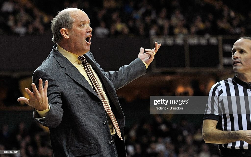 Head coach Kevin Stallings of the Vanderbilt Commodores reacts to a call during a game against the Butler Bulldogs at Memorial Gym on December 29, 2012 in Nashville, Tennessee.