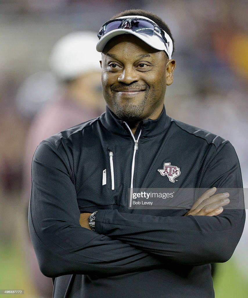 Head coach <a gi-track='captionPersonalityLinkClicked' href=/galleries/search?phrase=Kevin+Sumlin&family=editorial&specificpeople=4819265 ng-click='$event.stopPropagation()'>Kevin Sumlin</a> of the Texas A&M Aggies during warm ups before playing against the Auburn Tigers at Kyle Field on November 7, 2015 in College Station, Texas.
