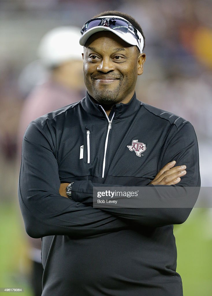 Head coach <a gi-track='captionPersonalityLinkClicked' href=/galleries/search?phrase=Kevin+Sumlin&family=editorial&specificpeople=4819265 ng-click='$event.stopPropagation()'>Kevin Sumlin</a> of the Texas A&M Aggies looks on during warm ups before the game against the Auburn Tigers at Kyle Field on November 7, 2015 in College Station, Texas.