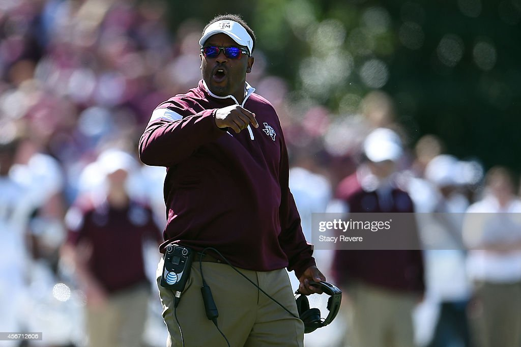 Head coach <a gi-track='captionPersonalityLinkClicked' href=/galleries/search?phrase=Kevin+Sumlin&family=editorial&specificpeople=4819265 ng-click='$event.stopPropagation()'>Kevin Sumlin</a> of the Texas A&M Aggies reacts to an officals call during the first quarter of a game against the Mississippi State Bulldogs at Davis Wade Stadium on October 4, 2014 in Starkville, Mississippi. Mississippi State won the game 48-31.