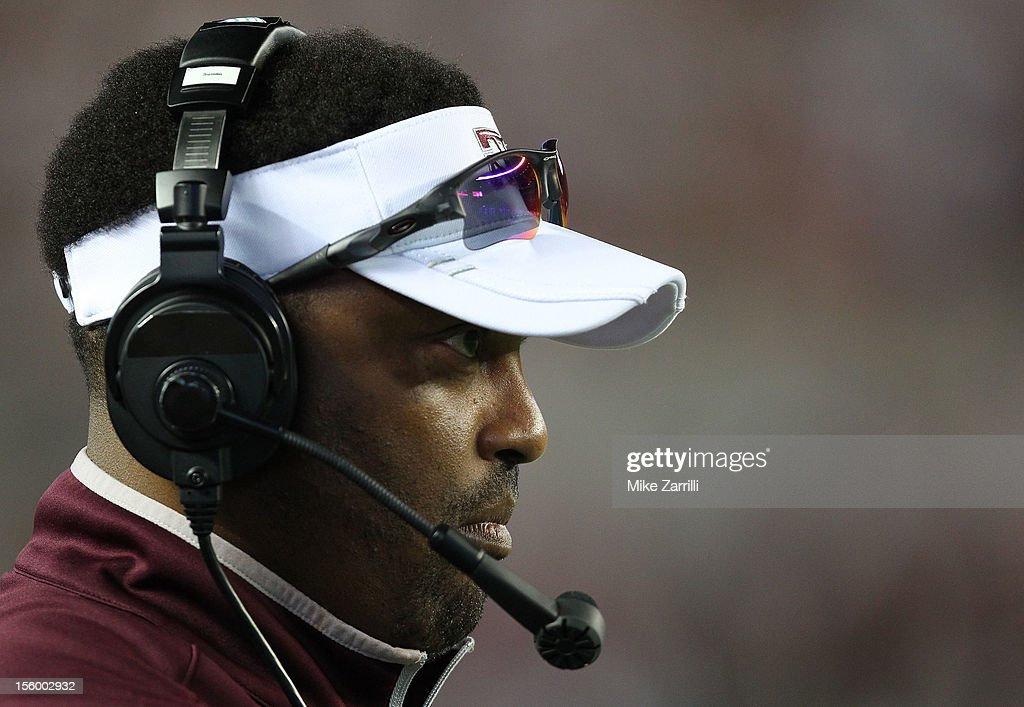 Head coach Kevin Sumlin of the Texas A&M Aggies watches the action on the field during the game against the Alabama Crimson Tide at Bryant-Denny Stadium on November 10, 2012 in Tuscaloosa, Alabama.