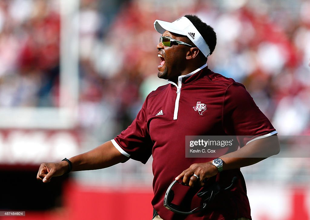 Head coach <a gi-track='captionPersonalityLinkClicked' href=/galleries/search?phrase=Kevin+Sumlin&family=editorial&specificpeople=4819265 ng-click='$event.stopPropagation()'>Kevin Sumlin</a> of the Texas A&M Aggies yells to his team against the Alabama Crimson Tide at Bryant-Denny Stadium on October 18, 2014 in Tuscaloosa, Alabama.