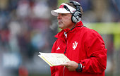 Head coach Kevin Wilson of the Indiana Hoosiers is seen during the game against the Purdue Boilermakers at RossAde Stadium on November 28 2015 in...