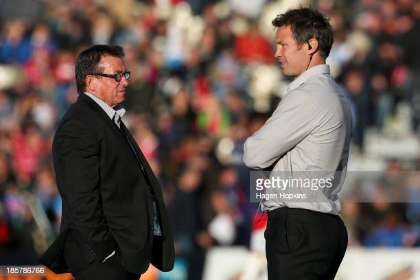 Head coach Kieran Keane and assistant coach Leon MacDonald of Tasman look on during the ITM Cup Championship FInal match between Tasman and Hawke's...