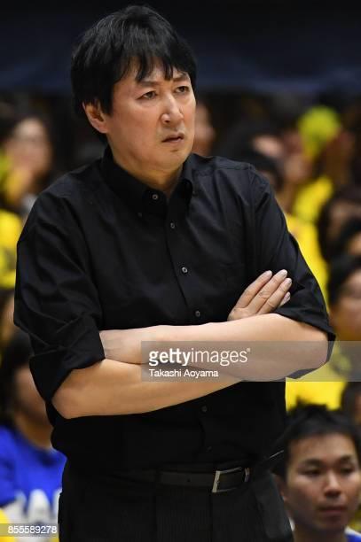 Head Coach Kimikazu Suzuki of the SeaHorse Mikawa reacts during the BLeague game between Tochigi Brex and Seahorses Mikawa at Brex Arena Utsunomiya...