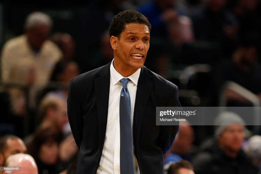 Head coach King Rice of the Monmouth Hawks directs his team against the Kentucky Wildcats during the Citi Hoops Classic at Madison Square Garden on December 9, 2017 in New York City.
