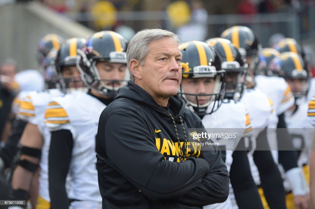 Head coach Kirk Ferentz of the Iowa Hawkeyes waits with his team prior to a game against the Wisconsin Badgers at Camp Randall Stadium on November 11, 2017 in Madison, Wisconsin.