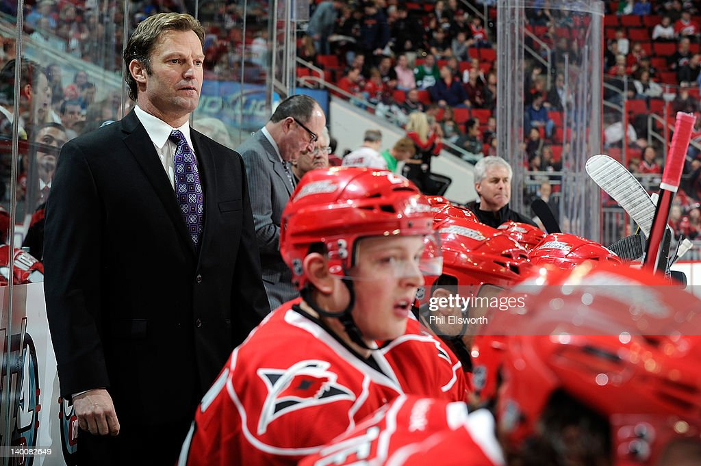 Head coach Kirk Muller of the Carolina Hurricanes in action against the Anaheim Ducks during an NHL game on February 23, 2012 at RBC Center in Raleigh, North Carolina.