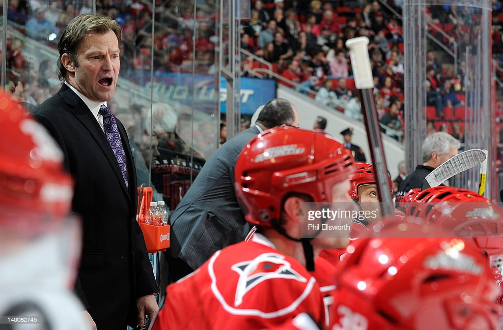 Head coach Kirk Muller of the Carolina Hurricanes in action during an NHL game against the Anaheim Ducks on February 23, 2012 at RBC Center in Raleigh, North Carolina.