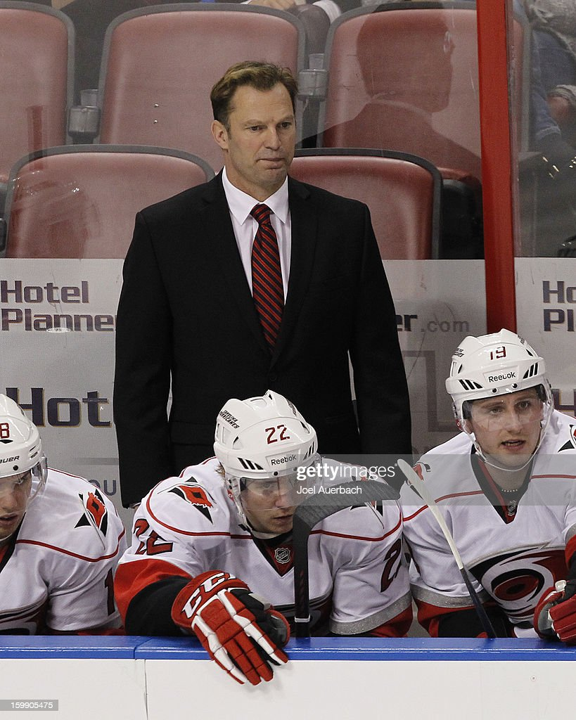 Head coach Kirk Muller of the Carolina Hurricanes looks on during third-period action against the Florida Panthers during the season opener at the BB&T Center on January 19, 2013 in Sunrise, Florida. The Panthers defeated the Hurricanes 5-1.