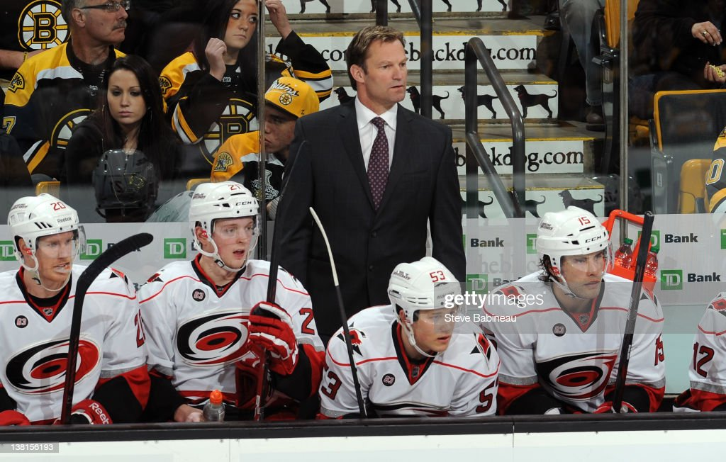 Head Coach Kirk Muller of the Carolina Hurricanes watches the third period against the Boston Bruins at the TD Garden on February 2, 2012 in Boston, Massachusetts.