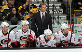 Head Coach Kirk Muller of the Carolina Hurricanes watches the third period against the Boston Bruins at the TD Garden on February 2 2012 in Boston...