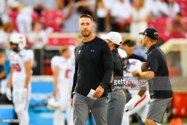 Head coach Kliff Kingsbury of the Texas Tech Red Raiders on the field before the game between the Texas Tech Red Raiders and the Arizona State Sun...