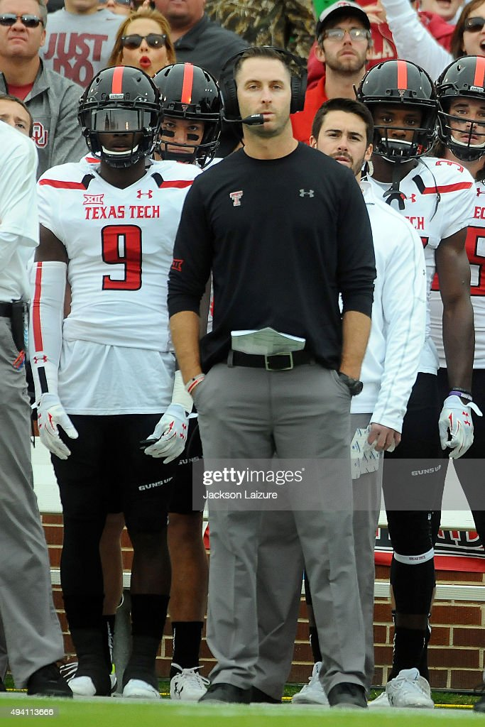 Head Coach Kliff Kingsbury of the Texas Tech Red Raiders watches the game against the Oklahoma Sooners on October 24, 2015 at the Gaylord Family Oklahoma Memorial Stadium in Norman, Oklahoma.
