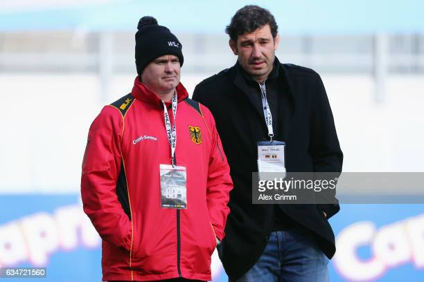 Head coach Kobus Potgieter and team manager Robert Mohr of Germany look on prior to the European Shield Rugby match between Germany and Romania at...
