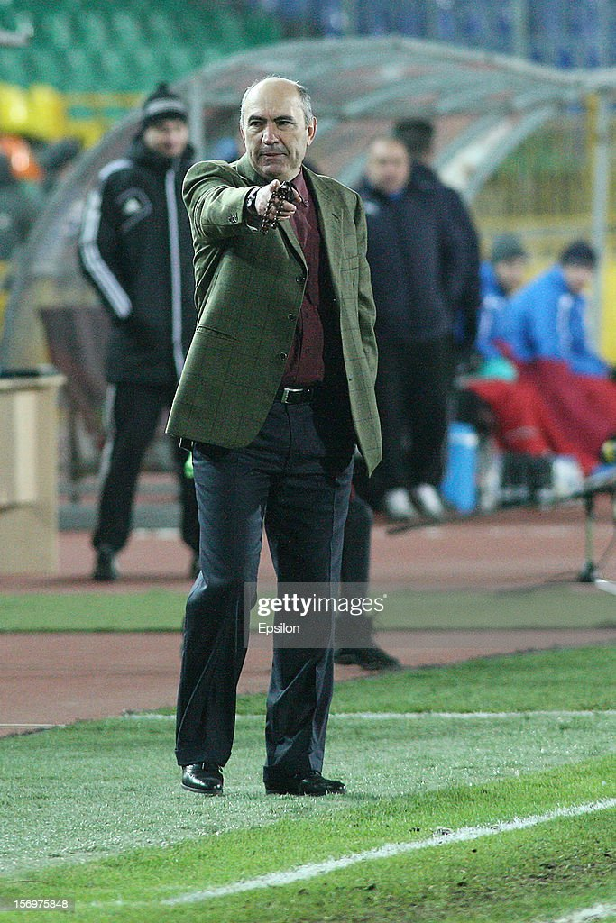 Head coach Kurban Berdyev of FC Rubin Kazan gestures during the Russian Premier League match between FC Rubin Kazan and FC Volga Nizhny Novgorod at the Tsentraliniy Stadium on November 26, 2012 in Kazan, Russia.