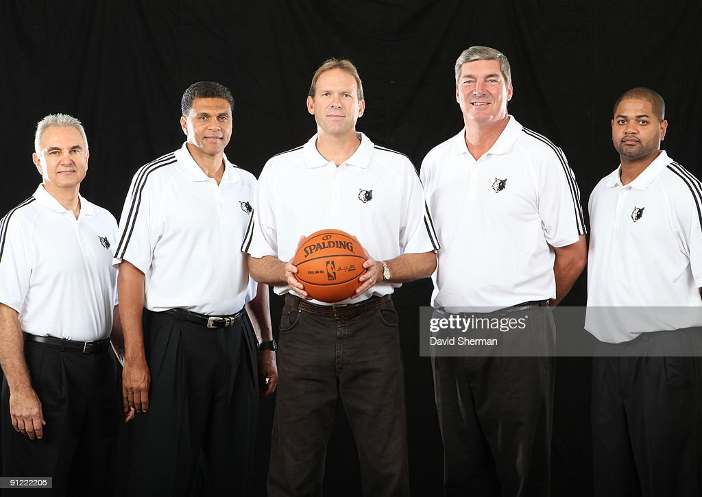 Head Coach Kurt Rambis and his coaching staff Dave Wohl Reggie Thues Bill Lamber and John Blair Bickerstaff of the Minnesota Timberwolves pose for a...
