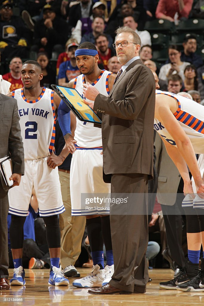 Head coach Kurt Rambis of the New York Knicks during the game against the Indiana Pacers on February 24 2016 at Bankers Life Fieldhouse in...