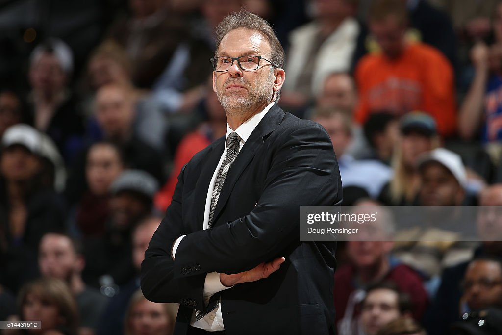 Head coach Kurt Rambis of the New York Knicks leads his team against the Denver Nuggets at Pepsi Center on March 8 2016 in Denver Colorado The...