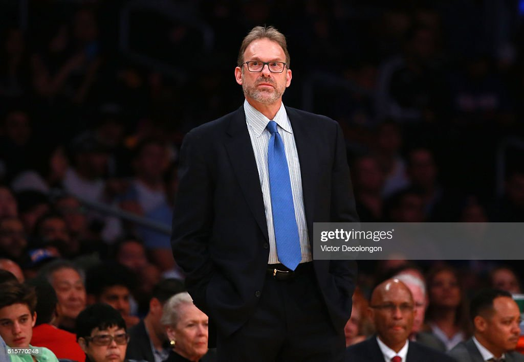 Head Coach Kurt Rambis of the New York Knicks looks on during the NBA game between the New York Knicks and the Los Angeles Lakers at Staples Center...