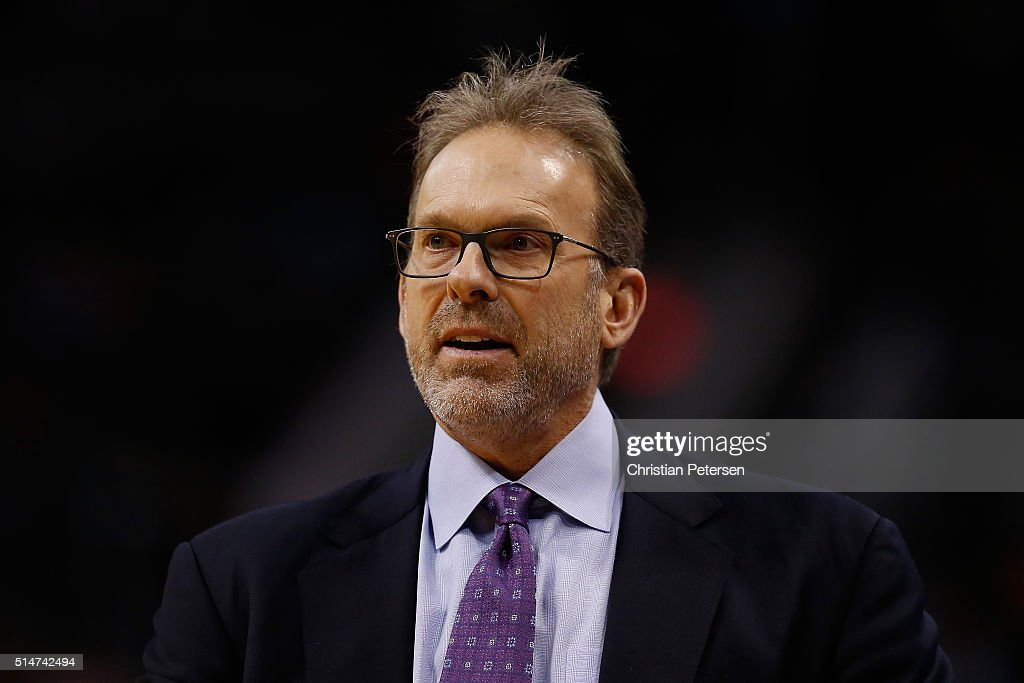 Head coach Kurt Rambis of the New York Knicks reacts during the NBA game against the Phoenix Suns at Talking Stick Resort Arena on March 9 2016 in...