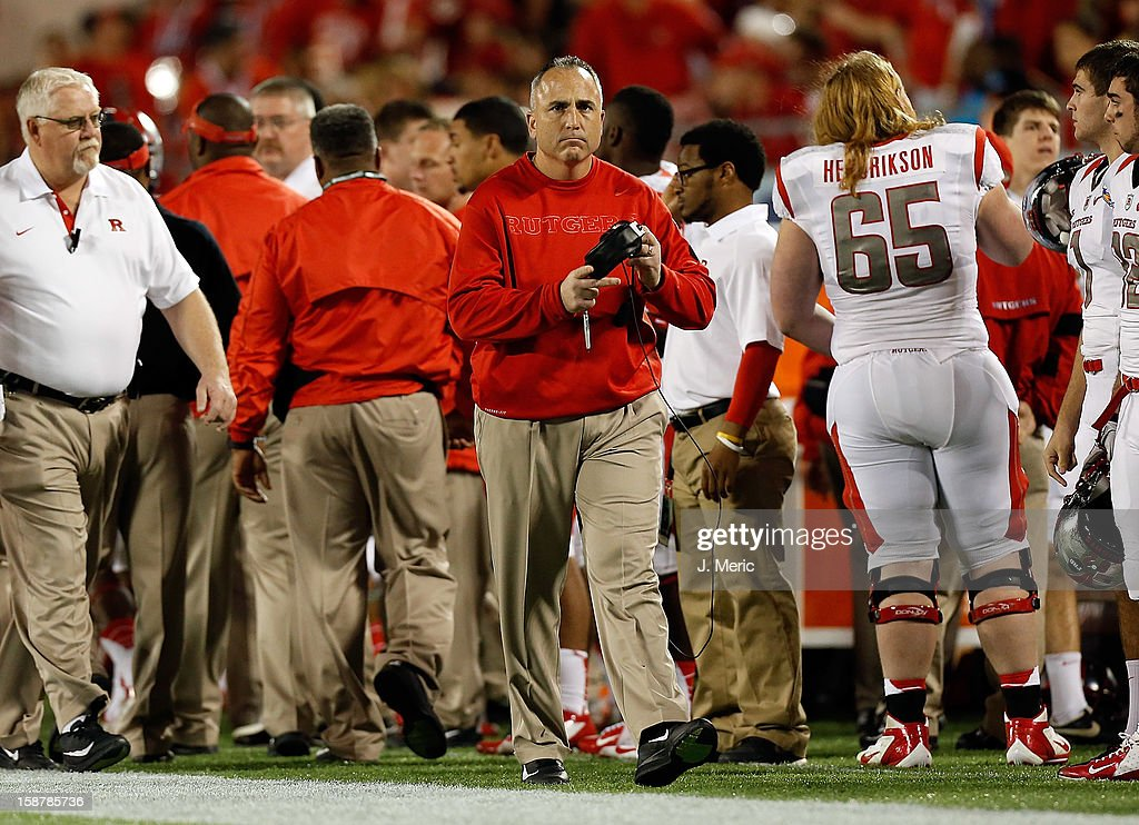Head coach Kyle Flood of the Rutgers Scarlet Knights directs his team against the Virginia Tech Hokies during the Russell Athletic Bowl Game at the Florida Citrus Bowl on December 28, 2012 in Orlando, Florida.