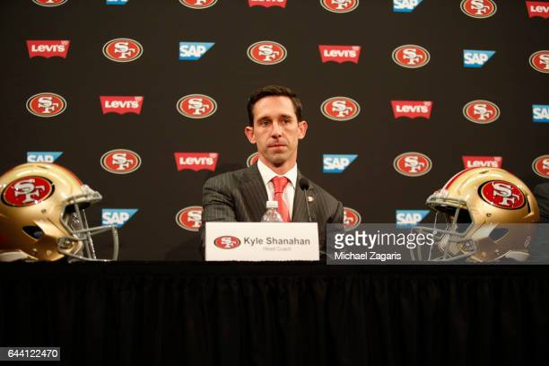 Head Coach Kyle Shanahan of the San Francisco 49ers addresses the mediaduring a press conference at Levi Stadium on February 9 2017 in Santa Clara...