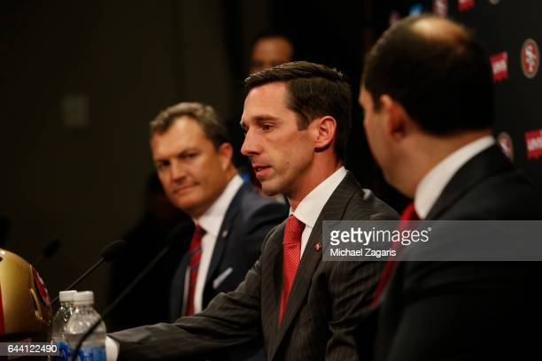 Head Coach Kyle Shanahan of the San Francisco 49ers addresses the media during a press conference at Levi Stadium on February 9 2017 in Santa Clara...
