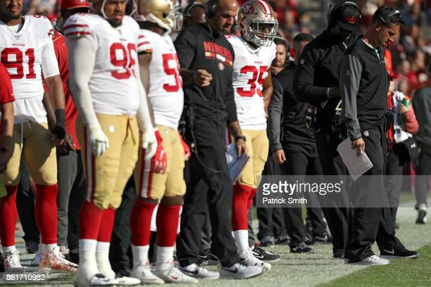 Head coach Kyle Shanahan of the San Francisco 49ers looks on from the sideline as they play the Washington Redskins during the second half at...