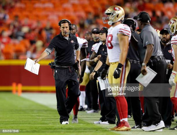 Head coach Kyle Shanahan of the San Francisco 49ers paces the sidelines during the preseason game against the Kansas City Chiefs at Arrowhead Stadium...