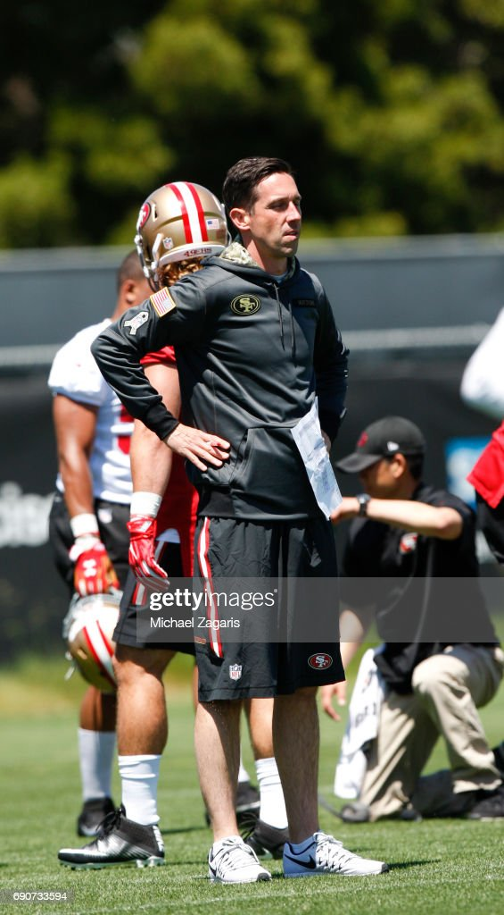 Head Coach Kyle Shanahan of the San Francisco 49ers stands on the field during the teams rookie camp at the 49ers training facility at Levi Stadium on May 05, 2017 in Santa Clara, California.