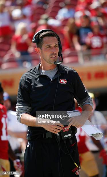 Head Coach Kyle Shanahan of the San Francisco 49ers stands on the field prior to the game against the Carolina Panthers at Levi's Stadium on...
