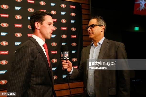 Head Coach Kyle Shanahan of the San Francisco 49ers talks with Mike Silver of the NFL Network during a press conference at Levi Stadium on February 9...