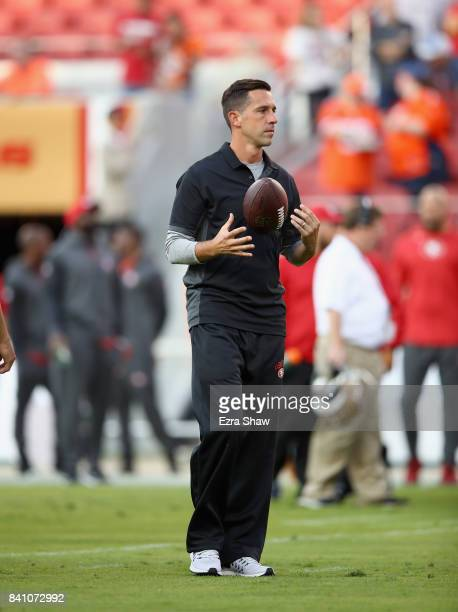 Head coach Kyle Shanahan stands on the field before their game against the Denver Broncos at Levi's Stadium on August 19 2017 in Santa Clara...