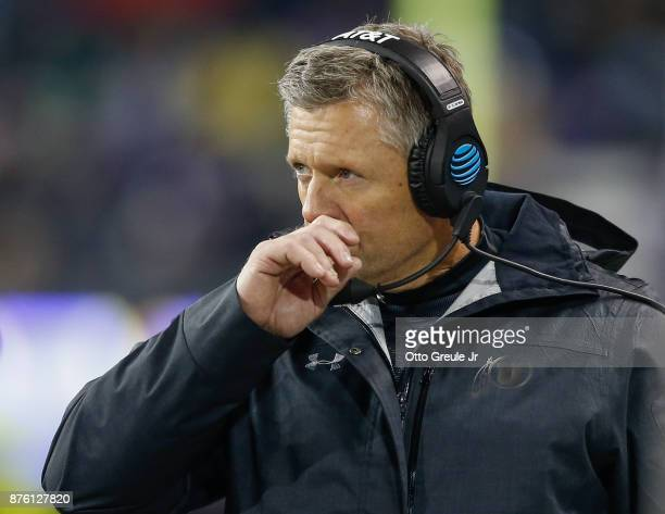 Head coach Kyle Whittingham of the Utah Utes looks on against the Washington Huskies at Husky Stadium on November 18 2017 in Seattle Washington