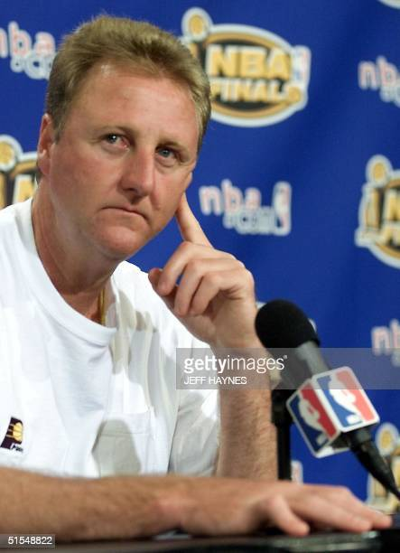 Head Coach Larry Bird of the Indiana Pacers talks to the media after a practice 08 June 2000 for game two of the NBA Finals at Staples Centers in Los...
