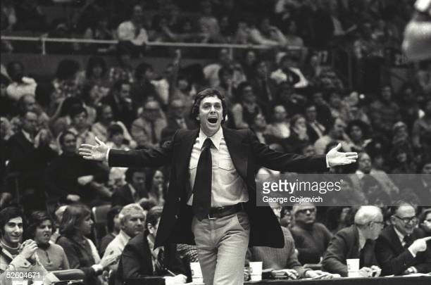 Head coach Larry Brown of the American Basketball Association Denver Nuggets gestures during a game against the New York Nets at Nassau Coliseum...