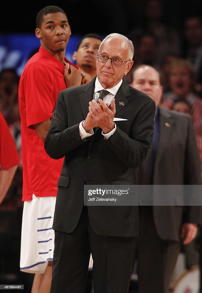 Head coach Larry Brown of the Southern Methodist Mustangs is introduced before action against the Clemson Tigers during the NIT Championship semifinals at Madison Square Garden on April 1, 2014 in New York City.