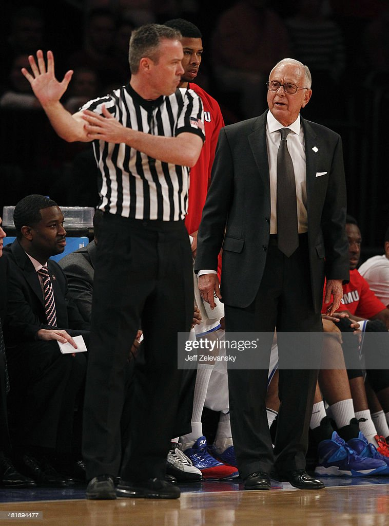 Head coach Larry Brown of the Southern Methodist Mustangs looks on from the bench against the Clemson Tigers during the NIT Championship semifinals at Madison Square Garden on April 1, 2014 in New York City.