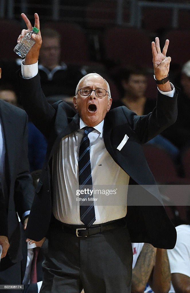 Head coach Larry Brown of the Southern Methodist Mustangs yells to his players as they take on the Kent State Golden Flashes during the 2015 Continental Tire Las Vegas Classic basketball tournament at the Orleans Arena on December 22, 2015 in Las Vegas, Nevada. The game marks Brown's return from a nine-game suspension. Southern Methodist won 90-74.