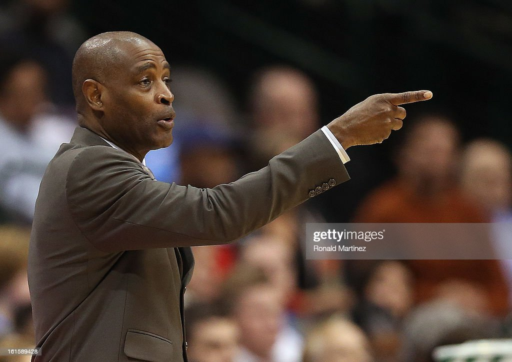 Head coach Larry Drew of the Atlanta Hawks at American Airlines Center on February 11, 2013 in Dallas, Texas.