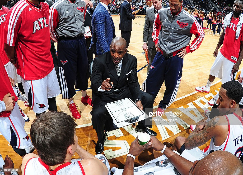 Head Coach Larry Drew of the Atlanta Hawks instructs his team during the game between the Atlanta Hawks and the Memphis Grizzlies on February 6, 2013 at Philips Arena in Atlanta, Georgia.