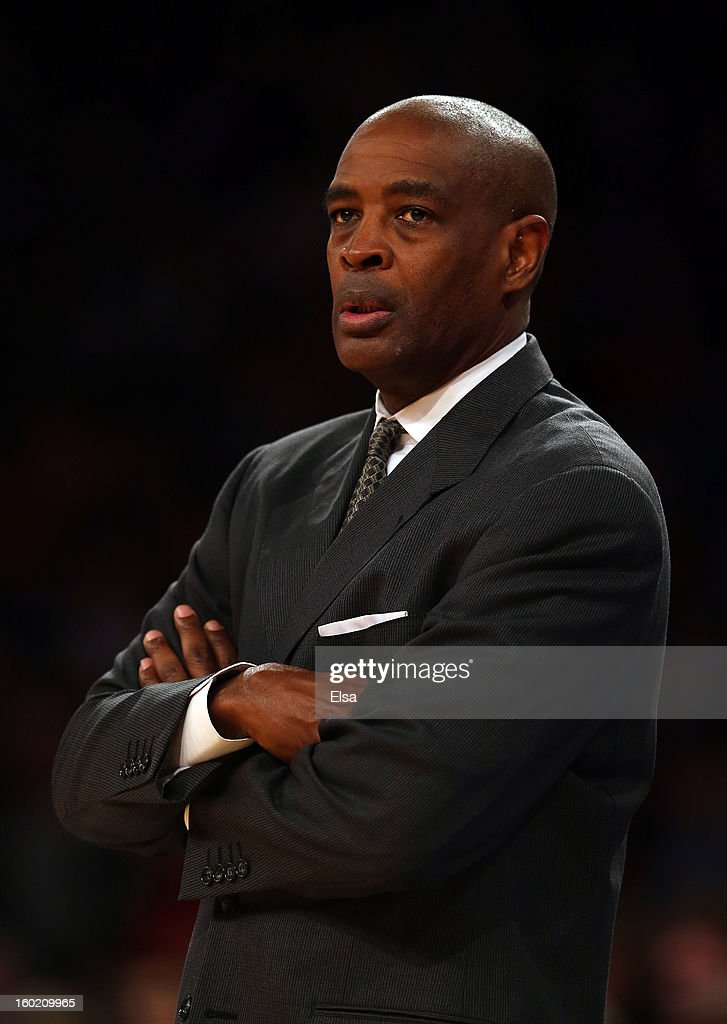 Head coach Larry Drew of the Atlanta Hawks looks on from the bench in the second half against the New York Knicks on January 27, 2013 at Madison Square Garden in New York City. The New York Knicks defeated the Atlanta Hawks 106-104.
