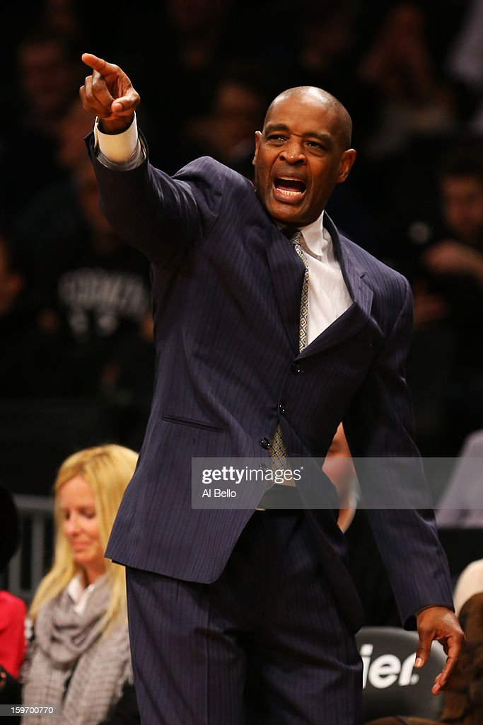 Head coach Larry Drew of the Atlanta Hawks reacts during the first quarter of the game against the Brooklyn Nets at Barclays Center on January 18, 2013 in the Brooklyn borough of New York City.
