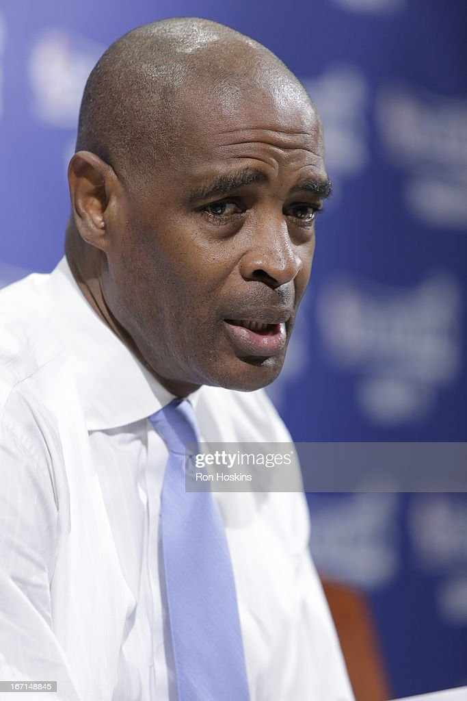 Head Coach Larry Drew of the Atlanta Hawks speaks during a press conference after a loss in Game One of the Eastern Conference Quarterfinals between the Indiana Pacers and the Atlanta Hawks on April 21, 2013 at Bankers Life Fieldhouse in Indianapolis, Indiana.