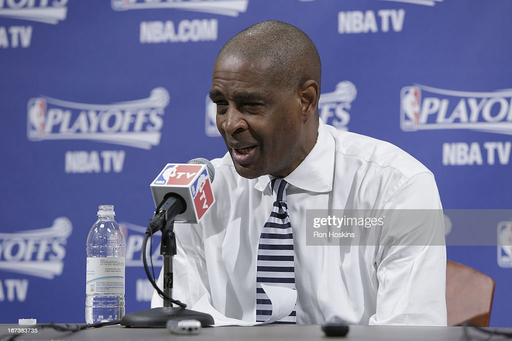 Head Coach Larry Drew of the Atlanta Hawks speaks during a press conference after a loss in Game Two of the Eastern Conference Quarterfinals between the Indiana Pacers and the Atlanta Hawks on April 24, 2013 at Bankers Life Fieldhouse in Indianapolis, Indiana.