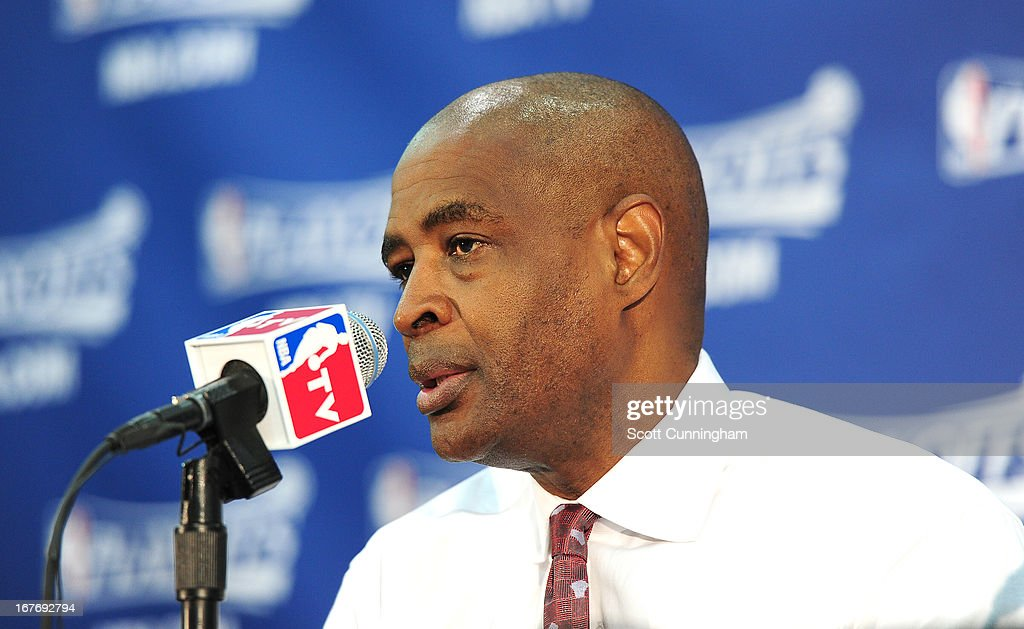 Head Coach Larry Drew of the Atlanta Hawks speaks during the press conference after winning the Game Three of the Eastern Conference Quarterfinals between the Indiana Pacers and the Atlanta Hawks in the 2013 NBA Playoffs on April 27, 2013 at Philips Arena in Atlanta, Georgia.